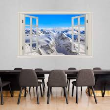 Vwaq Snow Mountain Range Wall Mural Sticker Winter Wall Art Decal