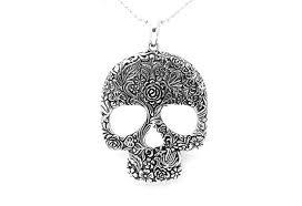sugar skull pendant in silver free