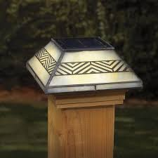 Deckorators 4 In X 4 In Stained Glass Solar Led Glass Pine Deck Post Cap Lowes Com In 2020 Solar Post Caps Deck Post Caps Solar Led