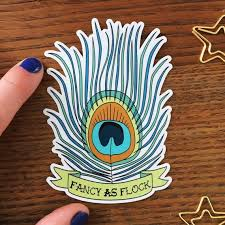 Peacock Sticker Peacock Feather Vinyl Sticker Die Cut Etsy