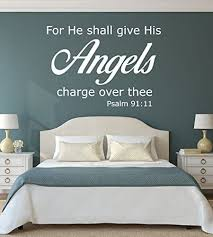 Amazon Com Bible Verse Wall Decal Psalm 91 11 For He Shall Give His Angels Charge Over Thee Angel Wall Decor Christian Wall Art Church Wall Decals Christian Home Decor Sympathy Gift Handmade