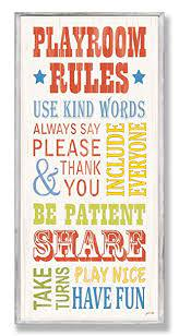 Amazon Com The Kids Room By Stupell Playroom Rules Use Kind Words Rectangle Wall Plaque Baby