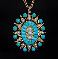 turquoise pearl diamond pendant
