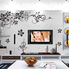 Amazon Com Amaonm Removable Vinyl Black Flowers And Flower Vines Wall Decals Diy Home Art Decor Decorative Wall Sticker Murals For Bedroom Living Room Tv Sofa Background Offices Wall Decorations Home Kitchen