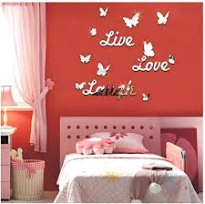 Amazon Com Wociaosmd Live Laugh Love Removable Wall Art Stickers Mirror Decal Diy Room Decals Home Decor Silver Home Kitchen