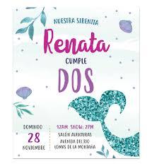 Invitacion Cumpleanos Sirena Sparkle Disenos Personalizados