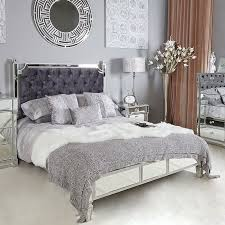 silver mirrored king size bed frame