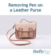 removing pen on a leather purse