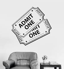 Amazon Com Negativ Wall Decal Movie Ticket Admit One Vinyl Removable Mural Art Decoration Stickers For Home Bedroom Nursery Living Room Kitchen Kitchen Dining
