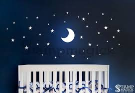 Moon Stars Wall Decal For Nursery Or Kids Room Wall Art Decal Features A Night Scene With Moon And Stars Star Wall Decals Moon Wall Decal Wall Vinyl Decor