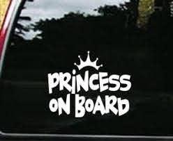 Princess On Board Window Decal Sticker Custom Sticker Shop