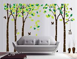 Amazon Com Fymural 5 Trees Wall Decal Forest Mural Paper For Bedroom Kid Baby Nursery Vinyl Removable Diy Sticker 103 9x70 9 Green Brown Home Kitchen