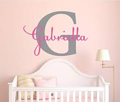 Amazon Com Girls Custom Name And Initial Wall Decal Sticker 36 W By 25 H Girls Name Wall Decals Wall Decor Personalized Girls Decor Girls Nursery Girls Bedroom Plus Free White Hello Door