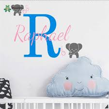 Custom Personalized Any Name With Initial Wall Decal For Kids Baby Room Decor Cute Elephants Vinyl Wall Sticker Art Decald 323 Vinyl Wall Stickers Name Wall Stickerswall Sticker Aliexpress