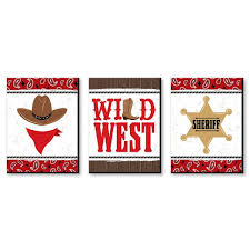 Western Hoedown Wild West Cowboy Wall Art Country Decorations And Kids Room Decor 7 5 X 10 Inches Set Of 3 Prints Bigdotofhappiness Com