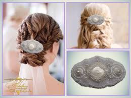 """Monday Mix"""" by Myra Graham on Etsy (With images)   Wedding hair clips,  White hair accessory, Wedding barrettes"""