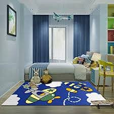 Amazon Com Kid Bedroom Rug 4 X 6 Yamtion Boys And Girls Area Rug Large Blue And White Soft Children Carpet Non Slip Indoor Airplane Cartoon Rugs For Living Room Playroom Classroom Nursery And