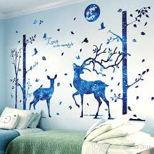 Blue Moon Deer Trees Wall Stickers Pvc Material Diy Cartoon Mural Decals For Kids Room Baby Bedroom Decoration Stickers For The Wall Stickers For Wall From Cocoart2016 25 13 Dhgate Com