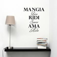 Dctop Italian Decorative Wall Decals Mangia Bene Ridi Spesso Ama Self Adhesive Wallpaper Wall Art Vinyl Sticker For Bedroom Stickers For Bedroom Stickers Forvinyl Stickers Aliexpress