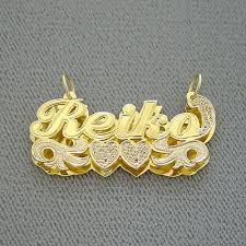 14k gold name pendant iced jewelry 3d