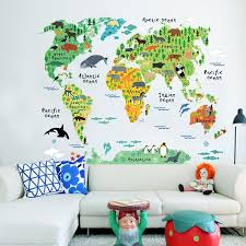Delightful World Wildlife Map Wall Decal For Kids Room Colorful Map Of The Continents Pvc 75x90cm Wall Decal Nordicwallart Com