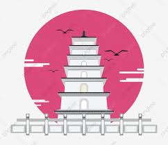 Ancient Architecture Chinese Style Cartoon Chinese Style Wild Goose Wall Fence Symmetrical Building Png And Vector With Transparent Background For Free Download