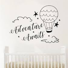 Adventure Awaits Wall Decal Quote Vinyl Home Decor Nursery Clouds And Hotair Balloons Travel Decal Boys Baby Room Sticker Bo61 Wall Stickers Aliexpress
