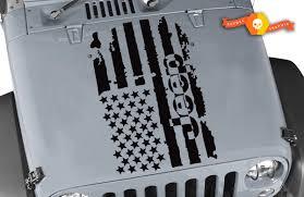 Product Jeep Wrangler 1x Hood Decal Racing Stickers Flag Logo Graphic Vinyl Hood Stripe