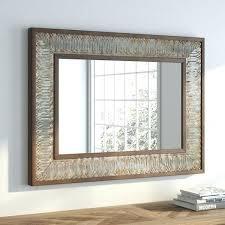 rustic wood and metal framed mirror