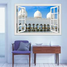 3d Wallpaper Wall Mural Stickers Masjid Islam Muslim Wall Stickers Construction Window View Home Decor Vinyl Decals For Walls Zebra Wall Stickers Art Deco Wall Stickers From Asenart 10 26 Dhgate Com