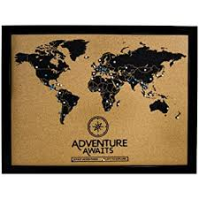 Amazon Com Cork Board World Travel Map With Pins Inspirational Wall Art To Track Past And Future Travel Posters Prints