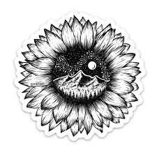 Mountain Sunflower Vinyl Sticker