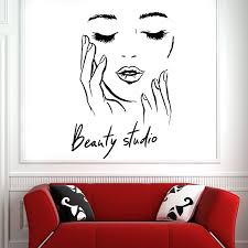 Beauty Salon Vinyl Wall Decal Female Face Cosmetic Makeup Beauty Studio Wall Stickers Fashion Room Decoration Art Mural Z362 Wall Stickers Aliexpress