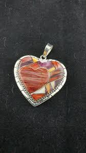 navajo heart spiny oyster inlay pendant