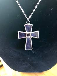 stained glass cross pendant