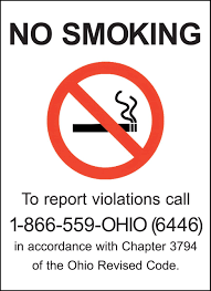 Ohio No Smoking Sign No Smoking Signs Zing Green Products
