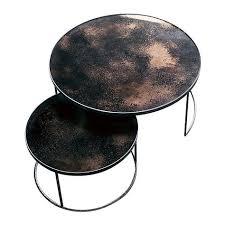 heavy aged mirror coffee table set