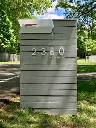 Modbox On A Slat Wood Wall Modern Mailbox Mid Century Modern Mailbox Mailbox Design