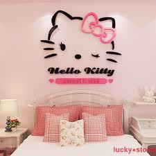 Cartoon Hello Kitty 3d Diy School Wall Kids Room Stickers Acrylic Pmma Mural Ebay