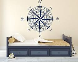 Compass Wall Decal Nautical Decor Vinyl Wall Decal For Home Bedroom Loft Am Wide 22 X 22 Height Beachfront Decor