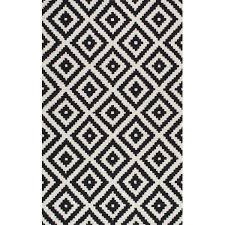 obadiah hand tufted black cream area rug