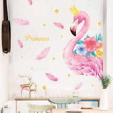 Pink Flamingo Balloon Wall Stickers For Kids Rooms Girls Rooms Bedroom Decor Cartoon Animal Unicorn Stickers For Wall Decal Wall Stickers Aliexpress