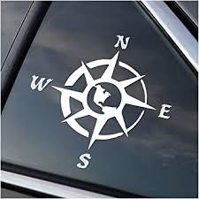 Amazon Com Compass Rose Hiking Camping Adventure Vinyl Car Window Decal Sticker White Automotive