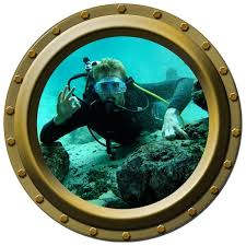 Scuba Diver Looking In Porthole Wall By Inkwood Impressions On Zibbet