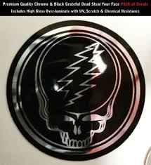 Product Grateful Dead Steal Your Face Chrome Black Pair Of Decals 2 Inches Shiny 0184