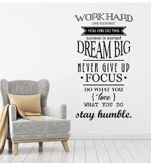 Vinyl Wall Decal Motivation Office Space Work Hard Dream Big Quote Wor Wallstickers4you