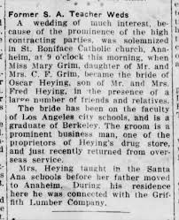 Oscar Heying marries Mary Grim - 1919 - Newspapers.com
