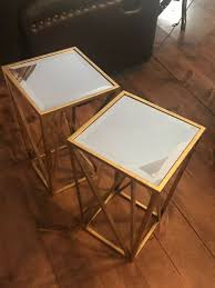 antique gold mirrored side tables set