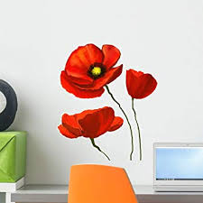 Amazon Com Wallmonkeys Watercolor Flower Poppies Wall Decal Peel And Stick Floral Graphic 18 In H X 18 In W Wm368073 Furniture Decor