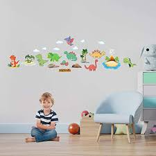 Amazon Com Hk Studio Baby Room Decoration Dinosaur Wall Decals For Boys Room Dinosaur Wall Stickers With Adorable And Cute Design Baby Wall Decor Nursery Wall Decor Colorful Wall Decor Baby Girl Wall